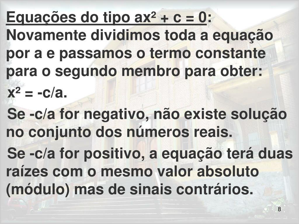Equações do tipo ax² + c = 0
