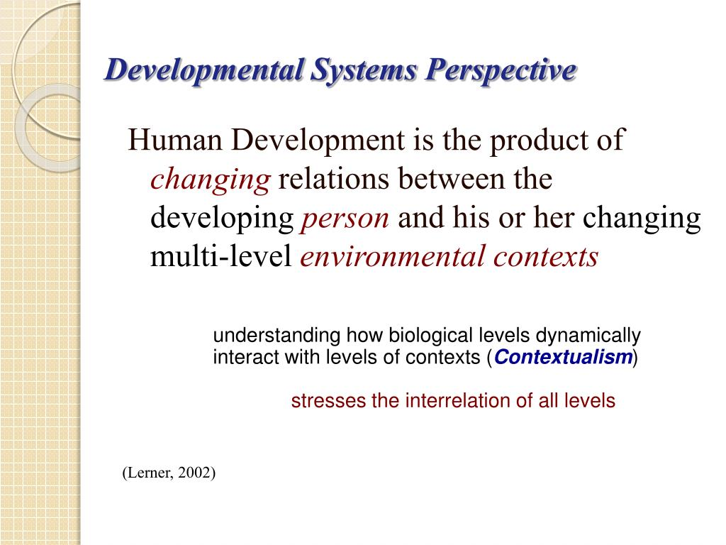 Developmental Systems Perspective