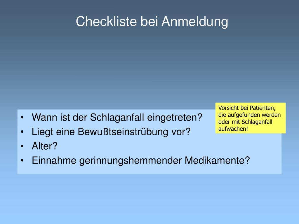 Checkliste bei Anmeldung