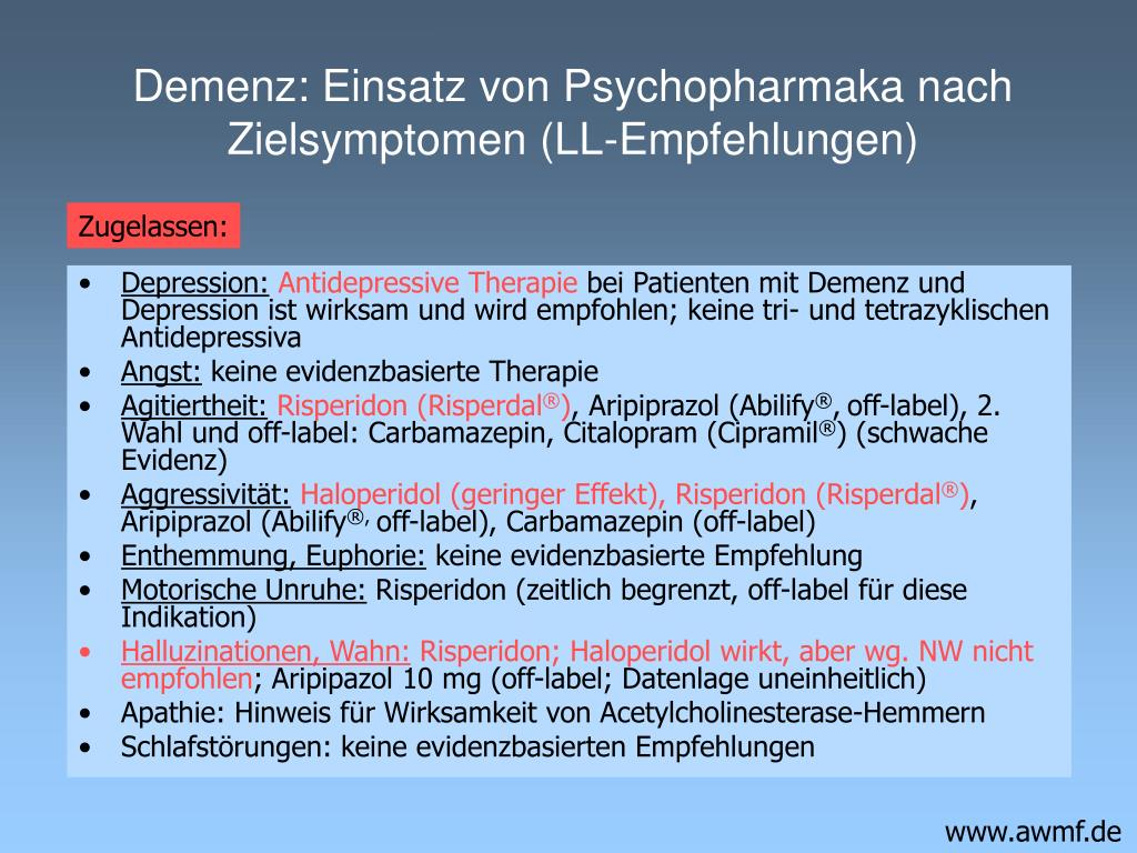 Demenz: Einsatz von Psychopharmaka nach