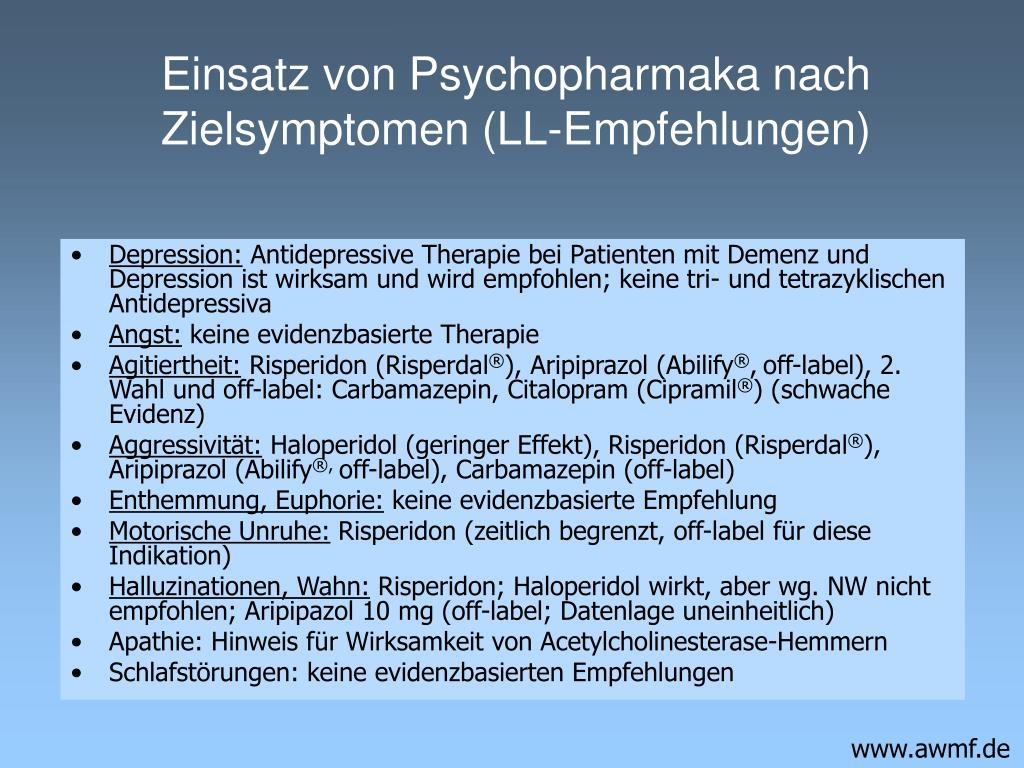 Einsatz von Psychopharmaka nach