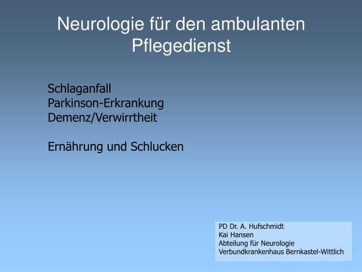 Neurologie f r den ambulanten pflegedienst