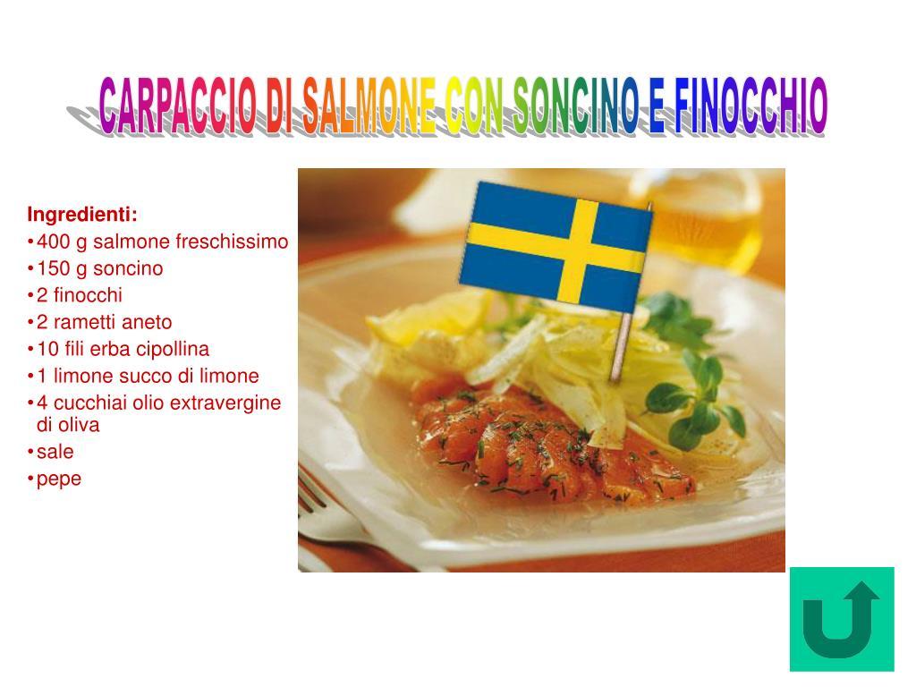 Carpaccio di Salmone con Soncino e Finocchio (Svezia)