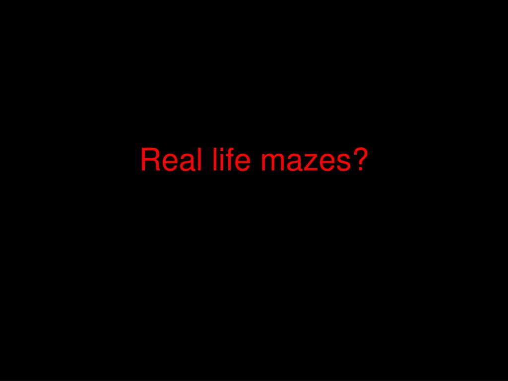 Real life mazes?