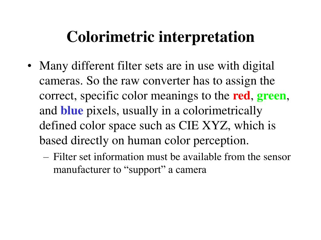 Colorimetric interpretation