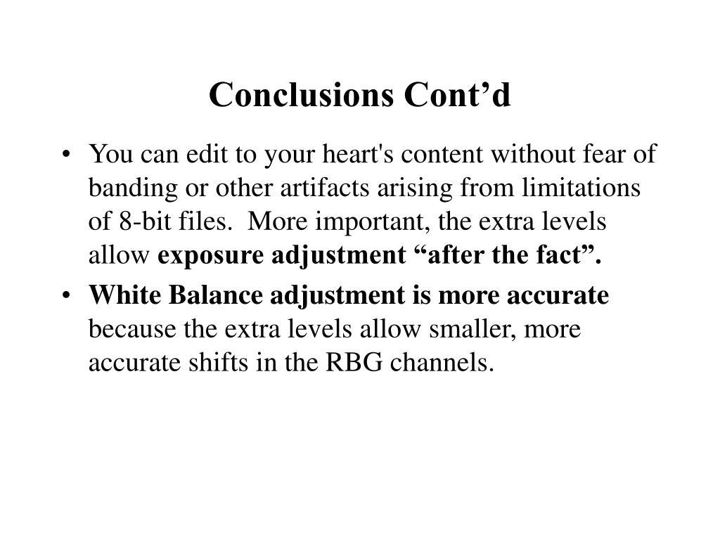 Conclusions Cont'd