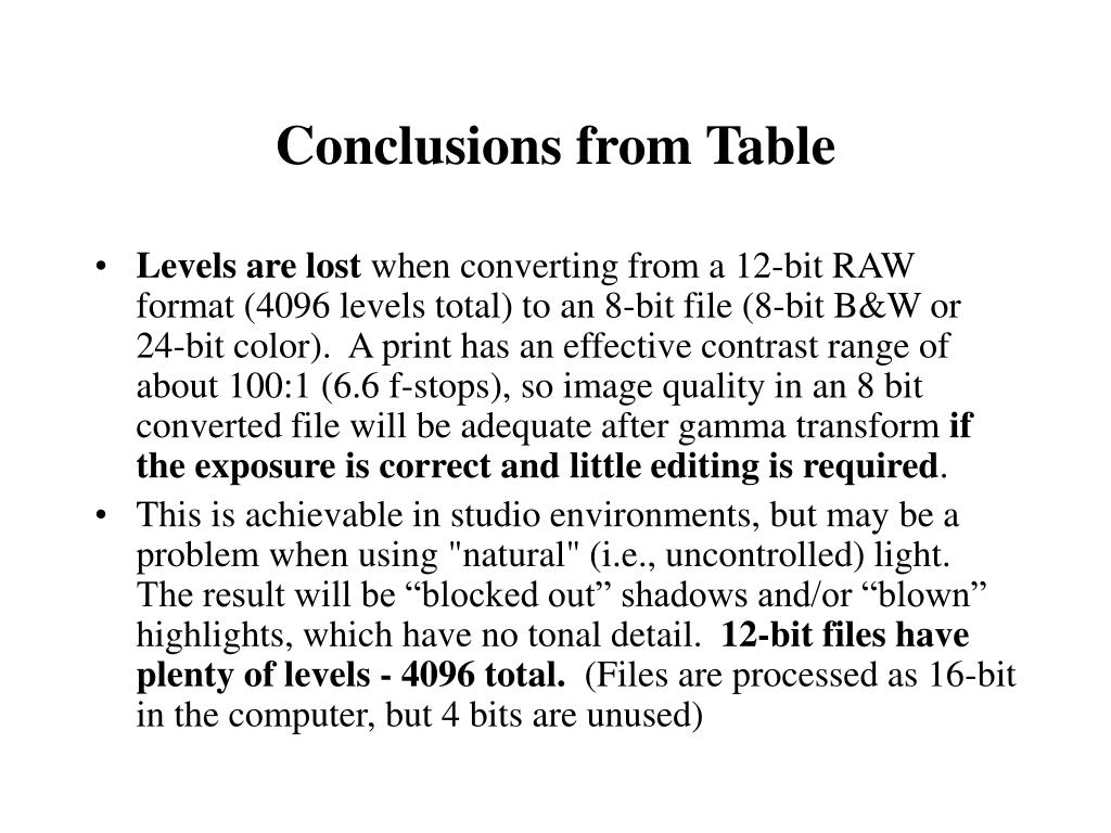 Conclusions from Table