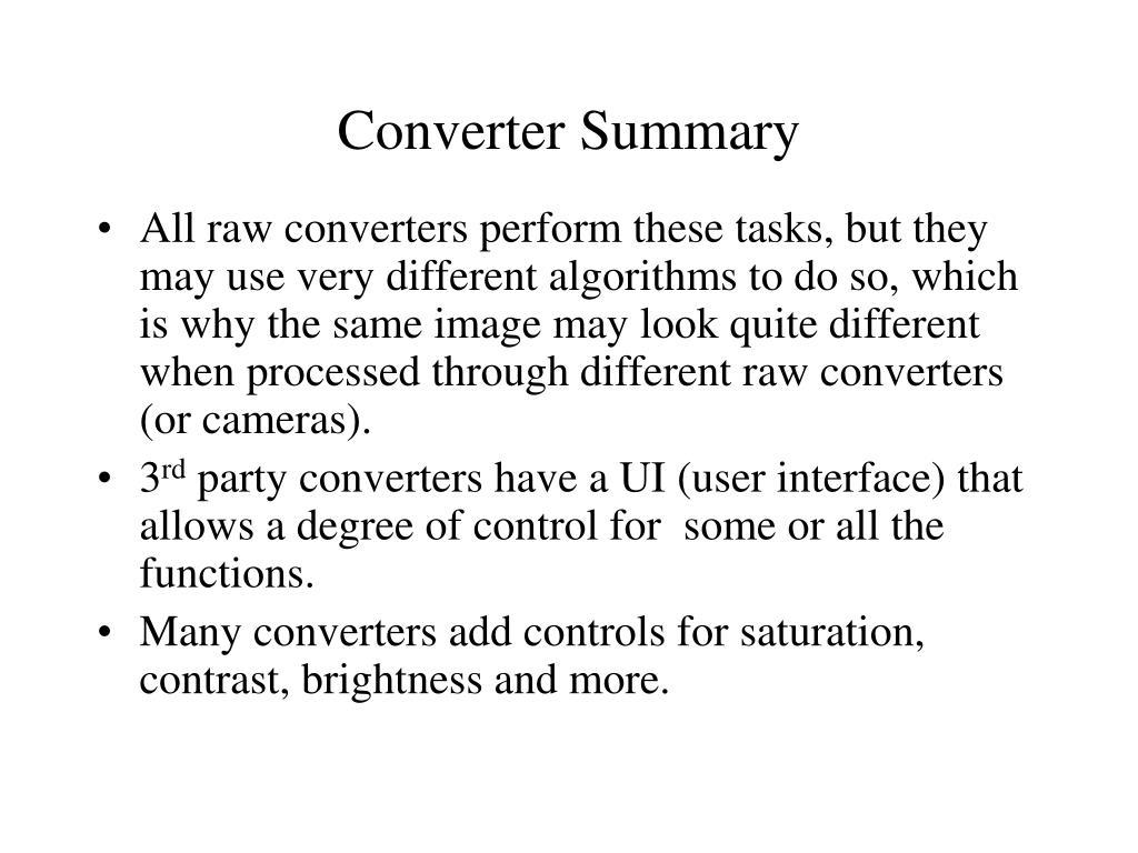 Converter Summary