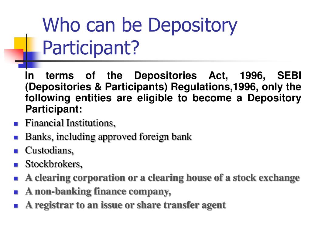 depository participant stock market