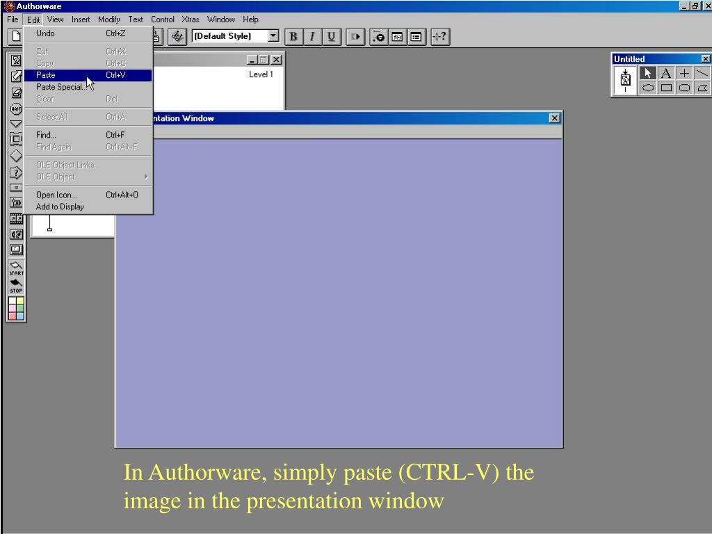 In Authorware, simply paste (CTRL-V) the image in the presentation window