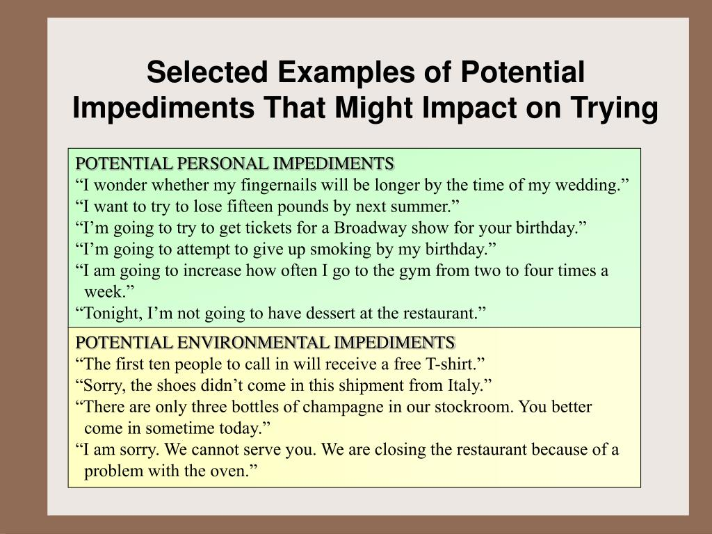 Selected Examples of Potential Impediments That Might Impact on Trying
