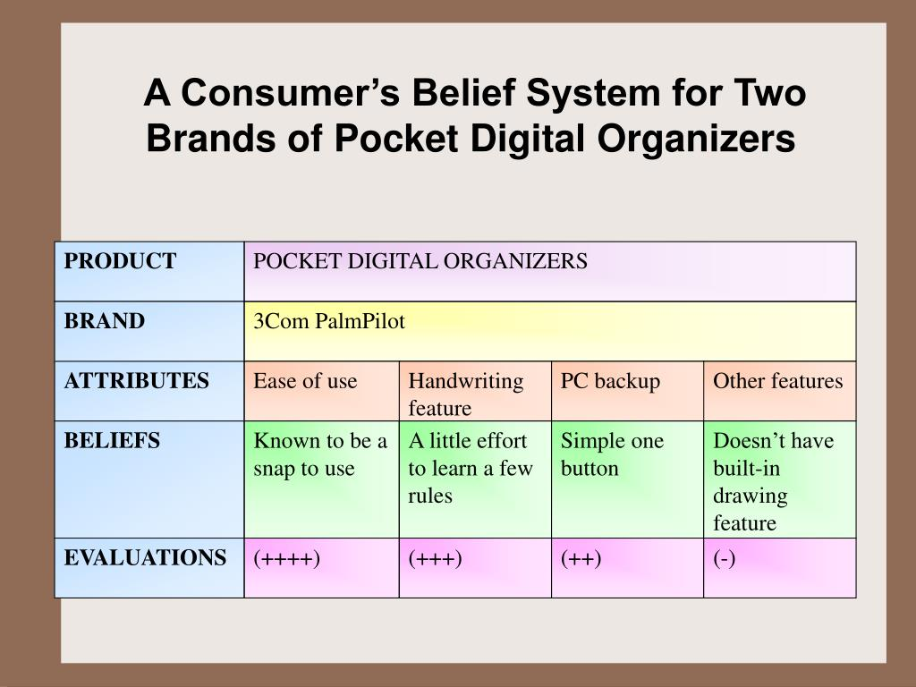 A Consumer's Belief System for Two Brands of Pocket Digital Organizers
