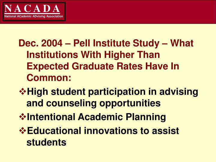 Dec. 2004 – Pell Institute Study – What Institutions With Higher Than Expected Graduate Rates Have In Common: