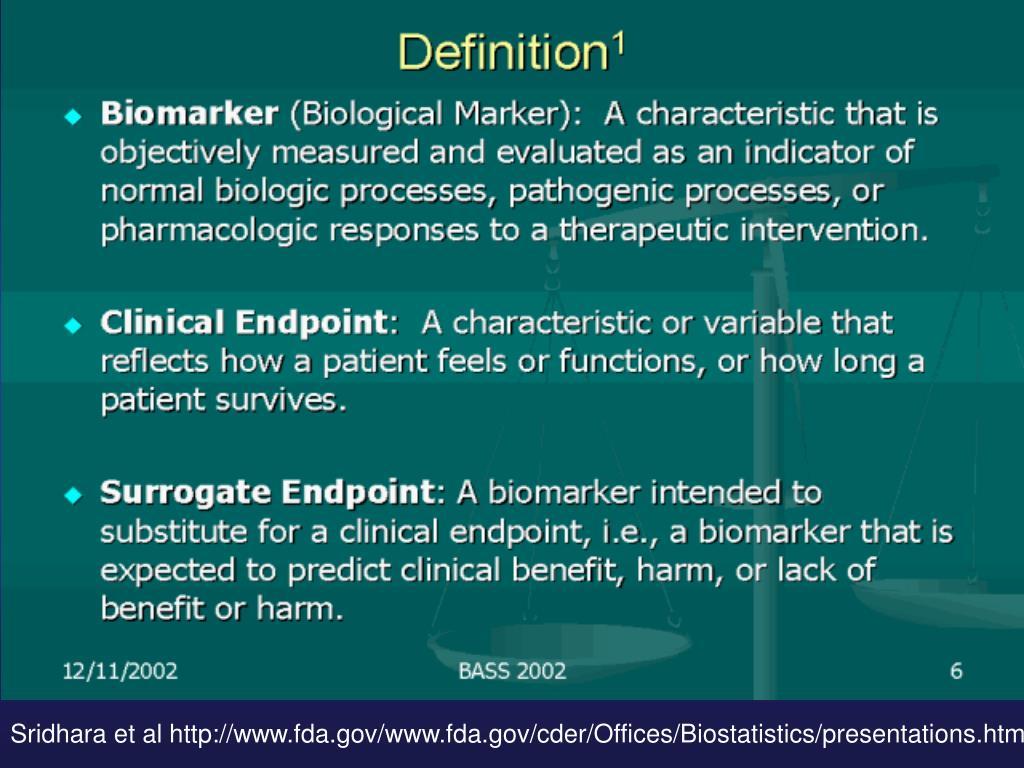 Sridhara et al http://www.fda.gov/www.fda.gov/cder/Offices/Biostatistics/presentations.htm