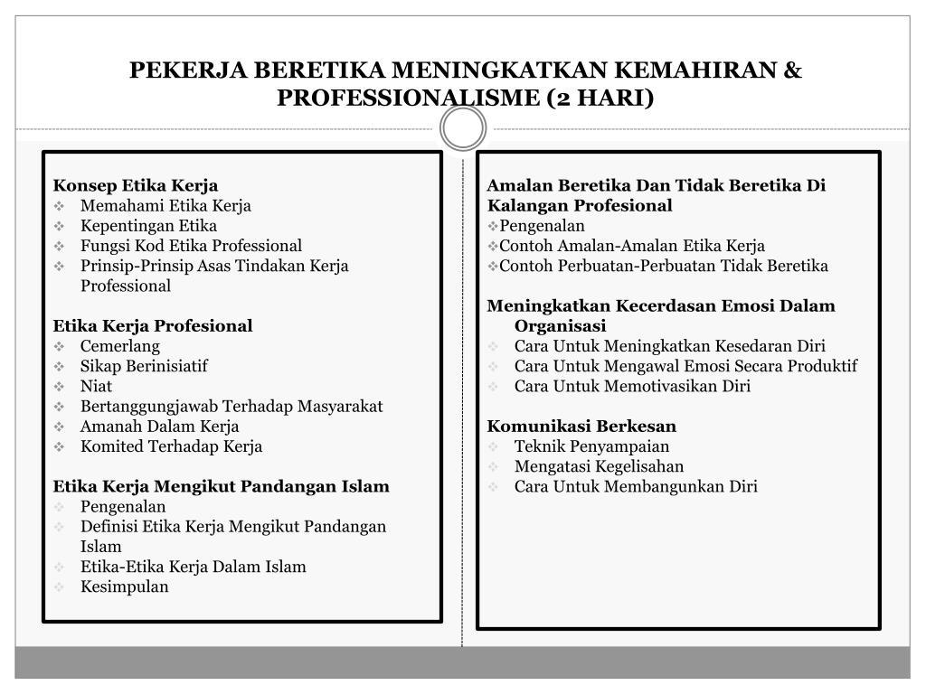 PEKERJA BERETIKA MENINGKATKAN KEMAHIRAN & PROFESSIONALISME (2 HARI)