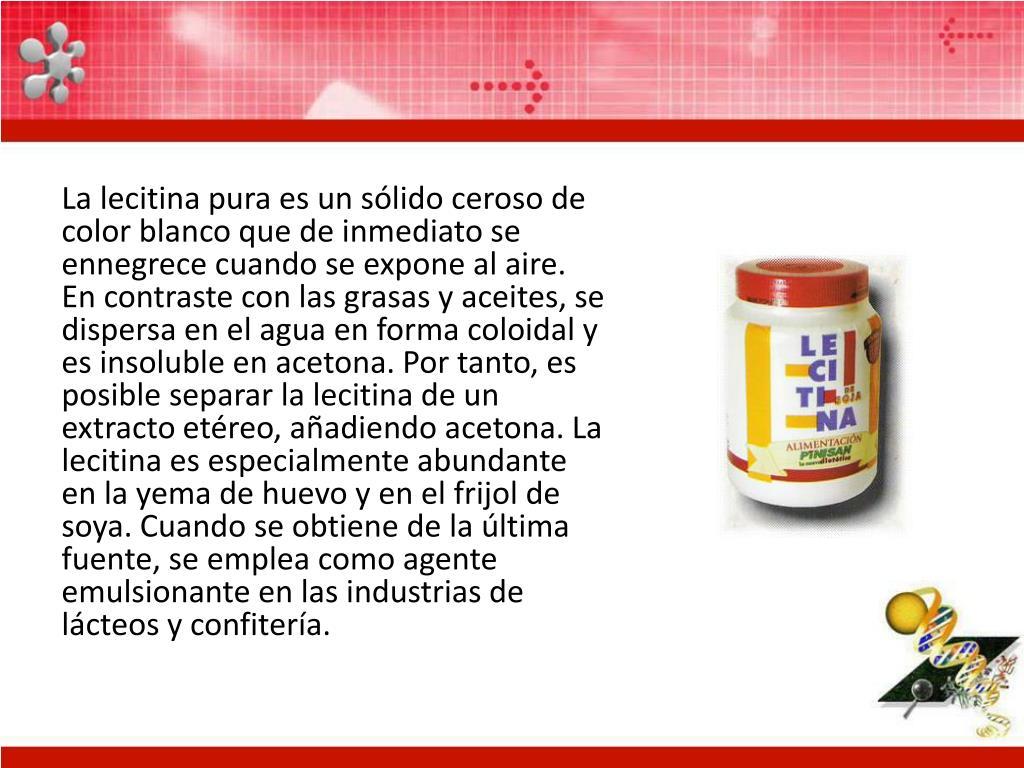 La lecitina pura es un sólido ceroso de color blanco que de inmediato se ennegrece cuando se expone al aire. En contraste con las grasas y aceites, se dispersa en el agua en forma coloidal y es insoluble en acetona. Por tanto, es posible separar la lecitina de un extracto etéreo, añadiendo acetona. La lecitina es especialmente abundante en la yema de huevo y en el frijol de soya. Cuando se obtiene de la última fuente, se emplea como agente emulsionante en las industrias de lácteos y confitería.