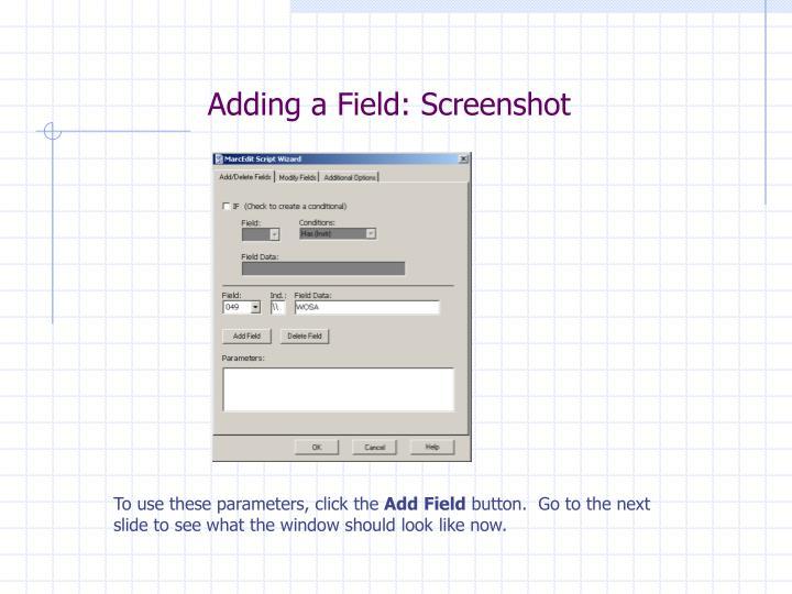 Adding a Field: Screenshot