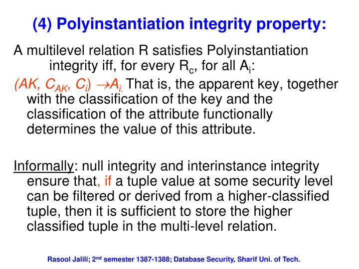 (4) Polyinstantiation integrity property:
