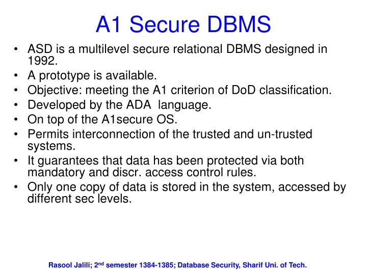 A1 Secure DBMS