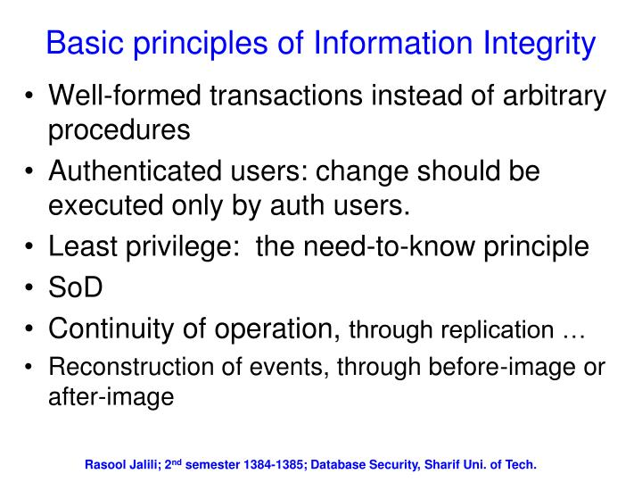 Basic principles of Information Integrity