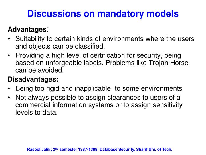 Discussions on mandatory models