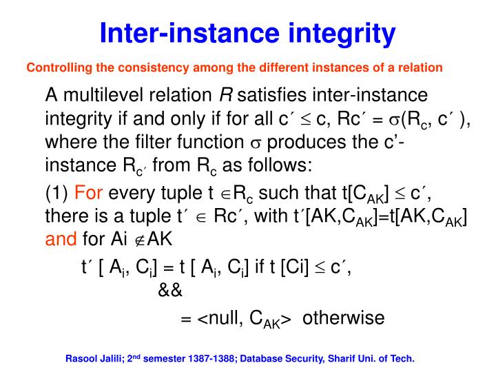 Inter-instance integrity