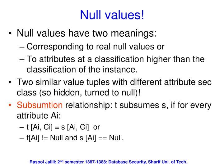 Null values!