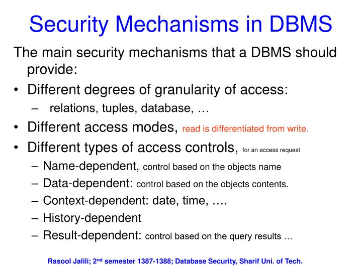 Security Mechanisms in DBMS