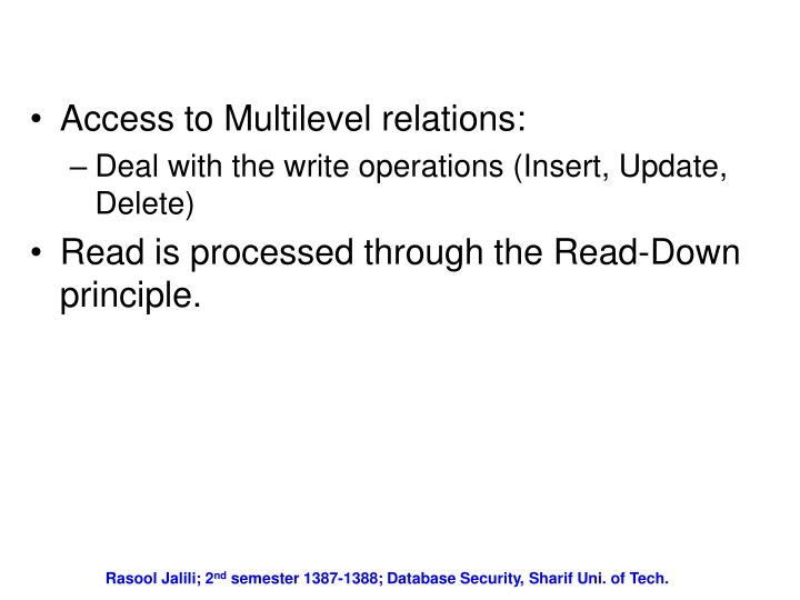 Access to Multilevel relations: