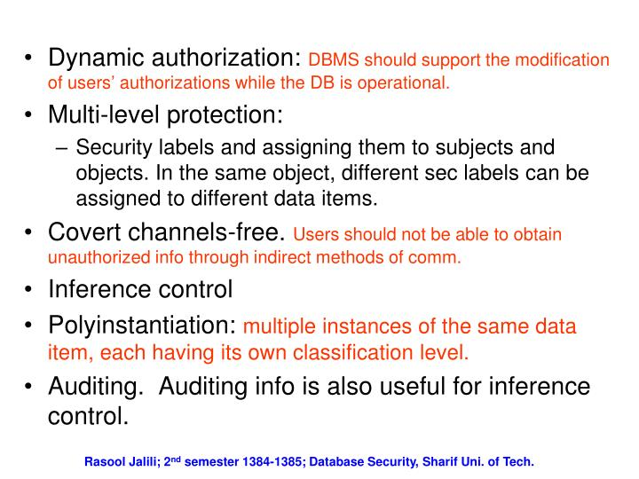 Dynamic authorization: