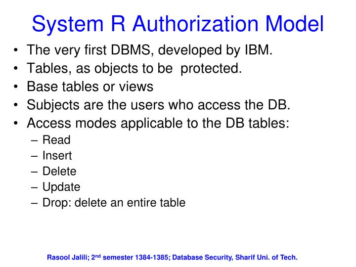 System R Authorization Model