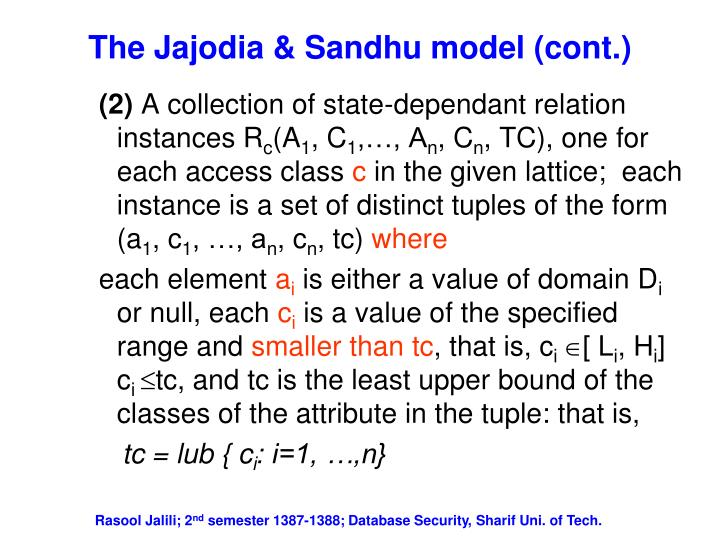 The jajodia sandhu model cont