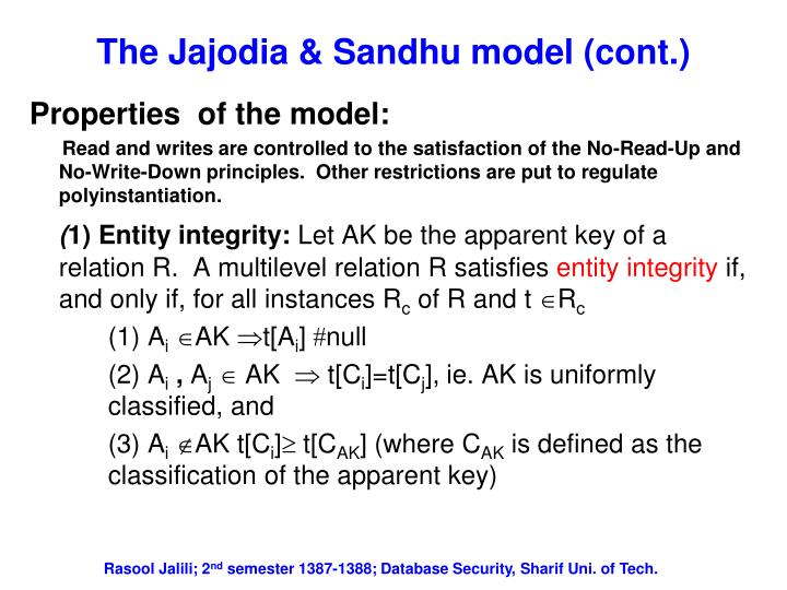 The Jajodia & Sandhu model (cont.)