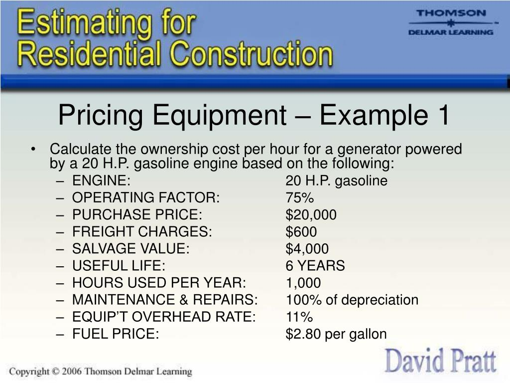 Pricing Equipment – Example 1