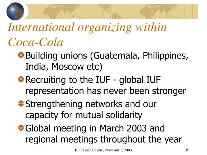 International organizing within Coca-Cola