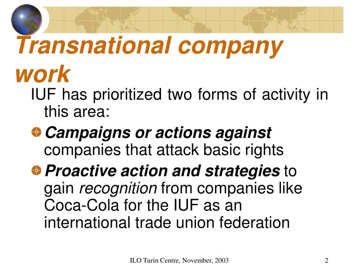 Transnational company work