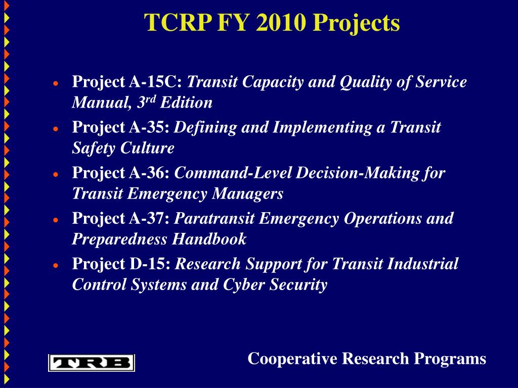 TCRP FY 2010 Projects