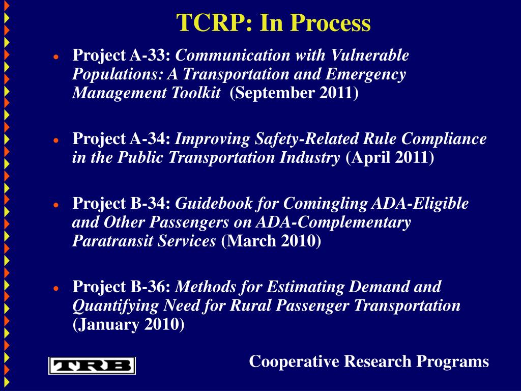 TCRP: In Process