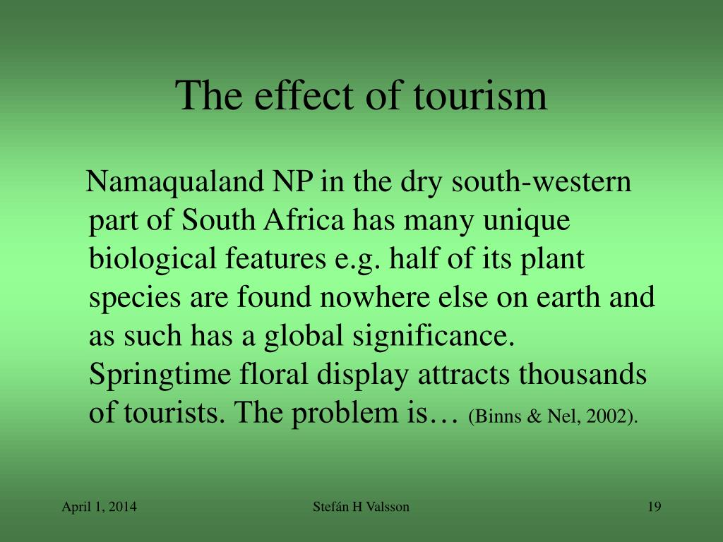 The effect of tourism