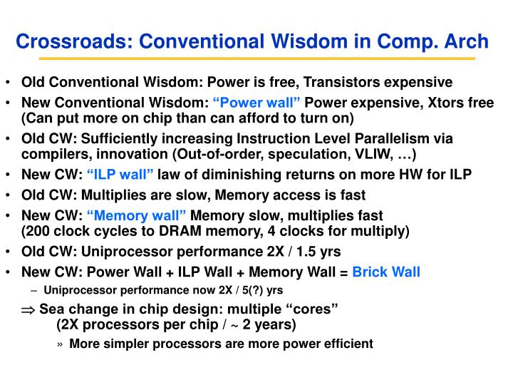 Crossroads conventional wisdom in comp arch