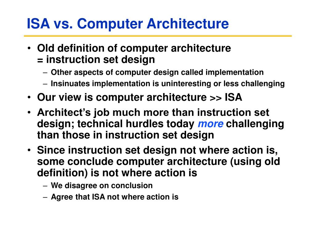 ISA vs. Computer Architecture