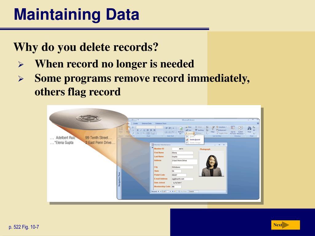 Maintaining Data