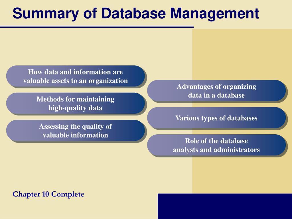 Summary of Database Management