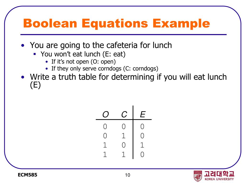 Boolean Equations Example