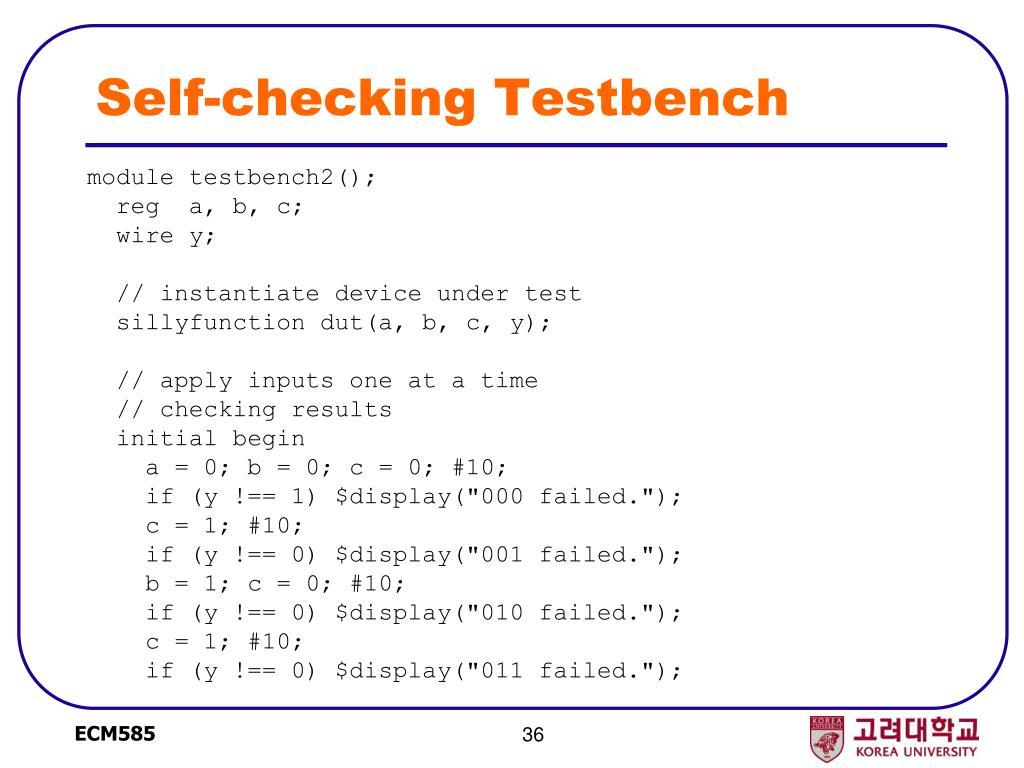 Self-checking Testbench