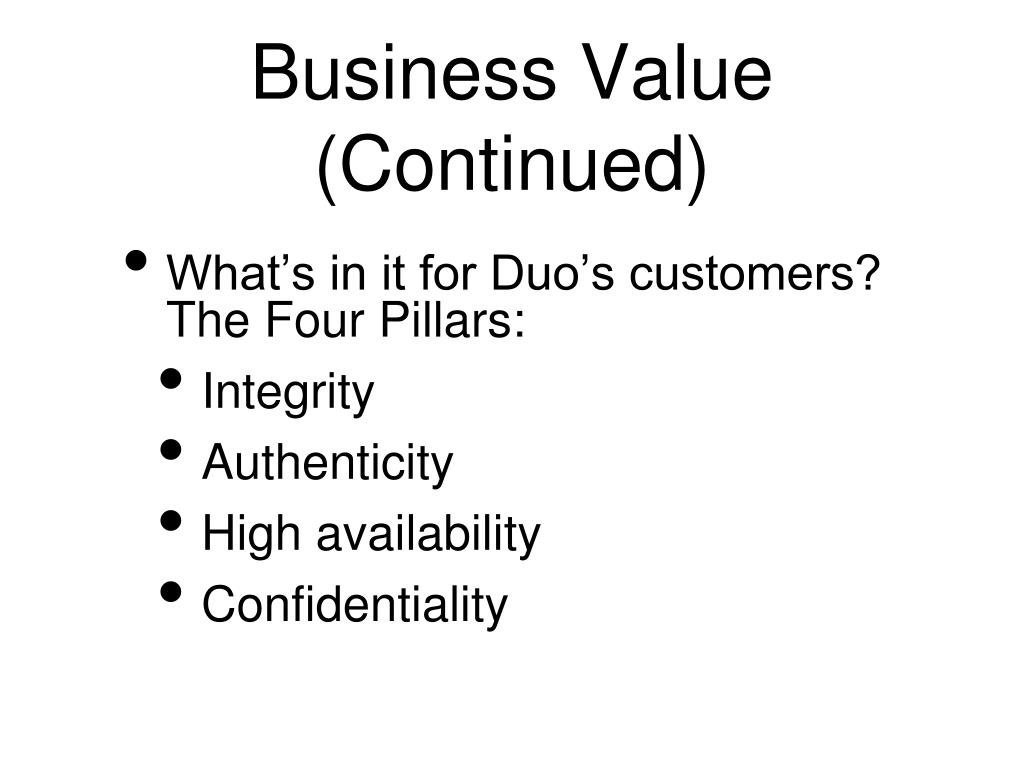 Business Value (Continued)