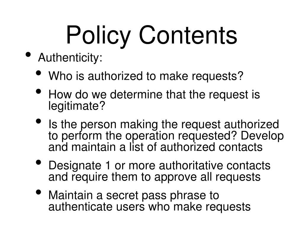 Policy Contents