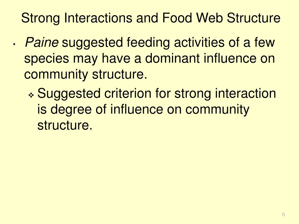 Strong Interactions and Food Web Structure