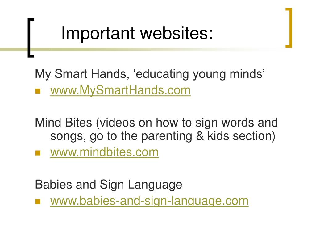 Important websites: