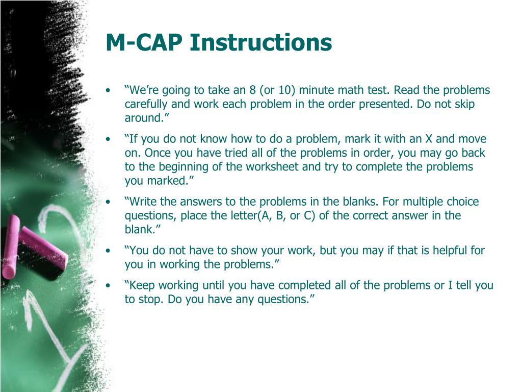 M-CAP Instructions